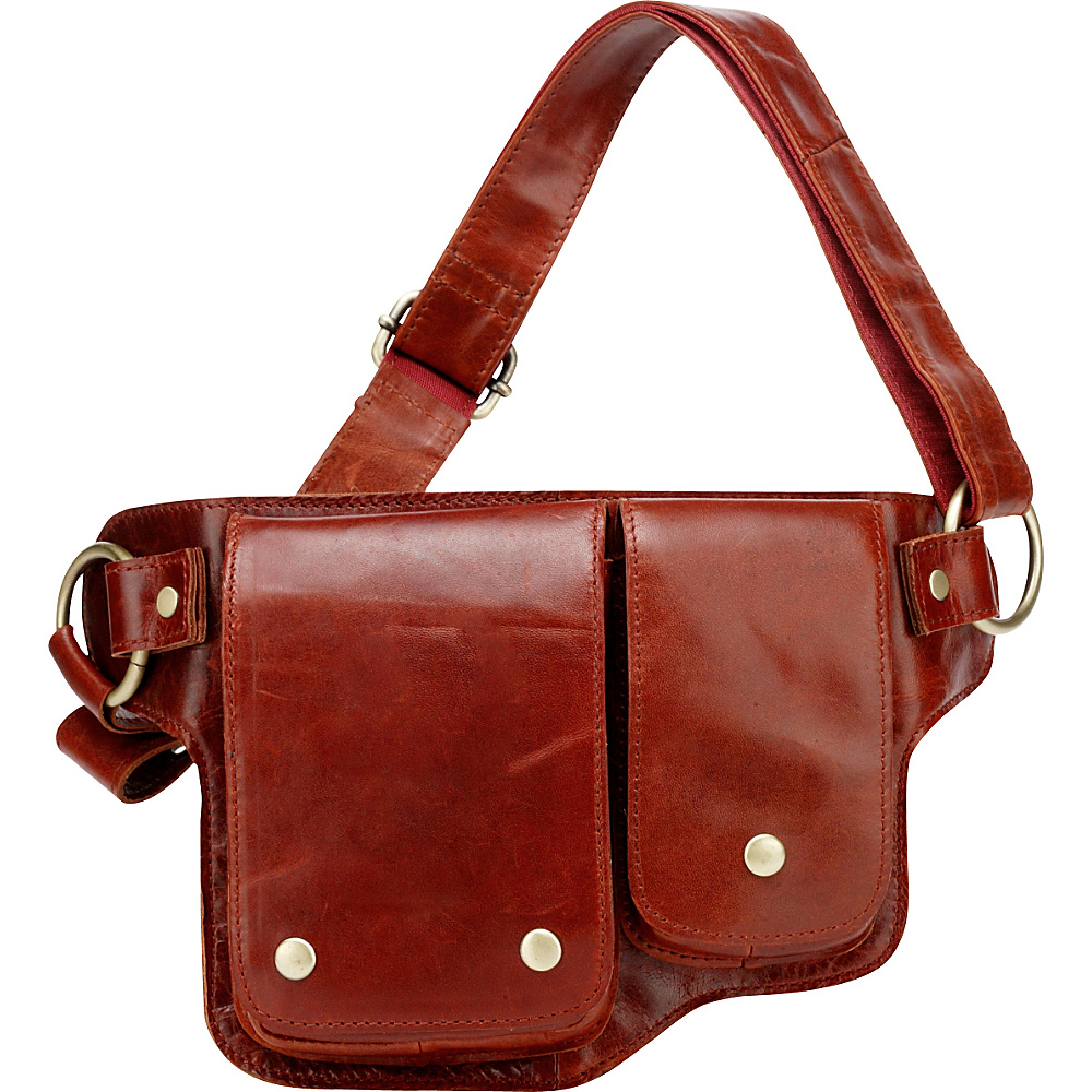 Vicenzo Leather Adonis 2 Leather Waist Pack Hip Purse Red Vicenzo Leather Waist Packs