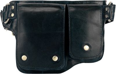 Vicenzo Leather Adonis 2 Leather Waist Pack Hip Purse Black - Vicenzo Leather Waist Packs