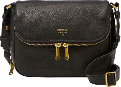 Fossil Preston Small Flap Crossbody Black - Fossil Leather Handbags