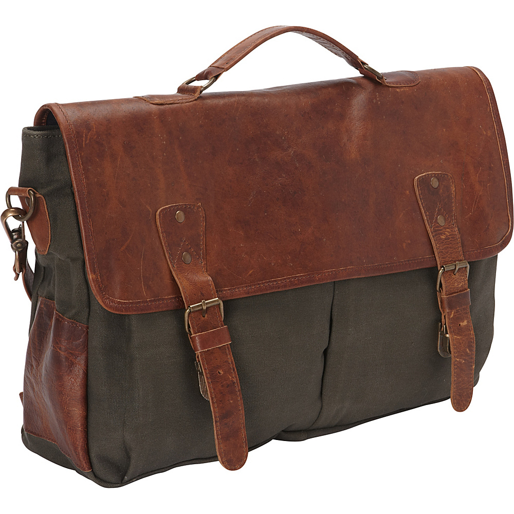 Sharo Leather Bags Laptop Messenger Bag and Brief Brown Leather Green Canvas Brown and Green Two Tone Sharo Leather Bags Non Wheeled Business Cases