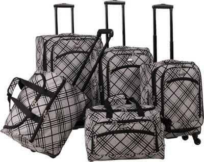 American Flyer Silver Stripes 5-Piece Luggage Set Silver - American Flyer Luggage Sets