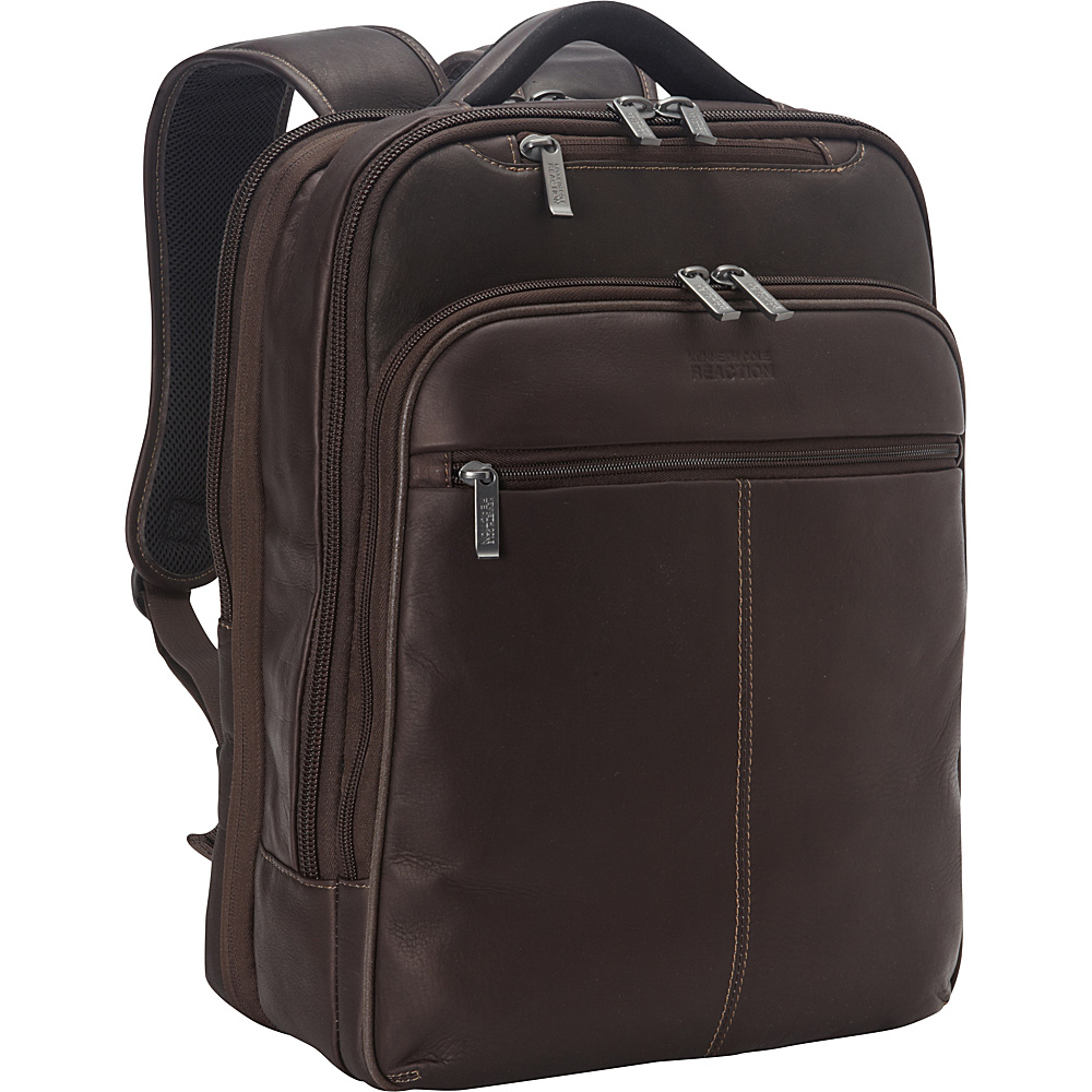 Kenneth Cole Reaction Back-Stage Access Colombian Leather Laptop Backpack Brown - Kenneth Cole Reaction Business & Laptop Backpacks