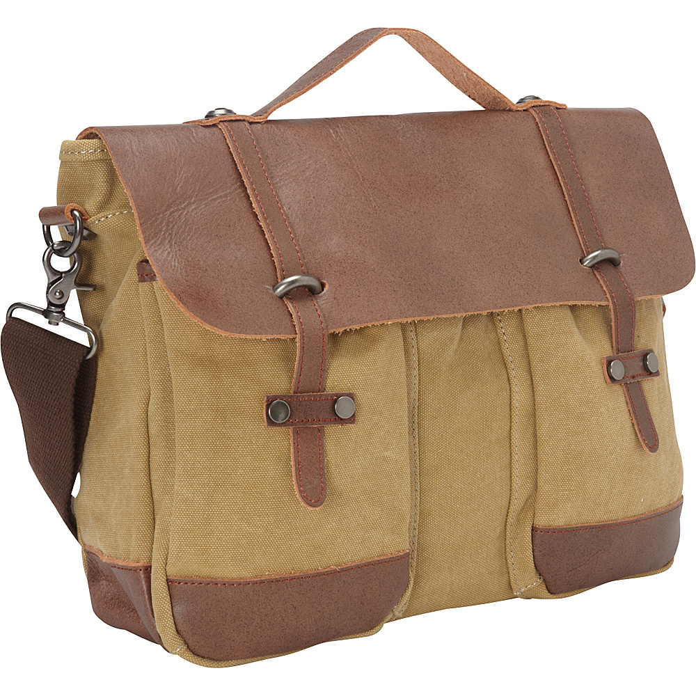 Vagabond Traveler Casual Style Cowhide Leather Cotton Canvas Messenger Laptop Bag Khaki - Vagabond Traveler Messenger Bags - Work Bags & Briefcases, Messenger Bags
