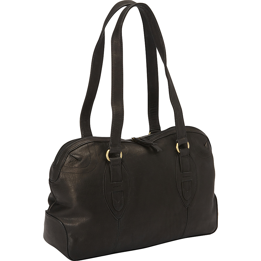Derek Alexander E W Top Zip Satchel Bag Black Derek Alexander Leather Handbags