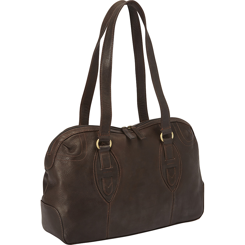 Derek Alexander E W Top Zip Satchel Bag Brown Derek Alexander Leather Handbags