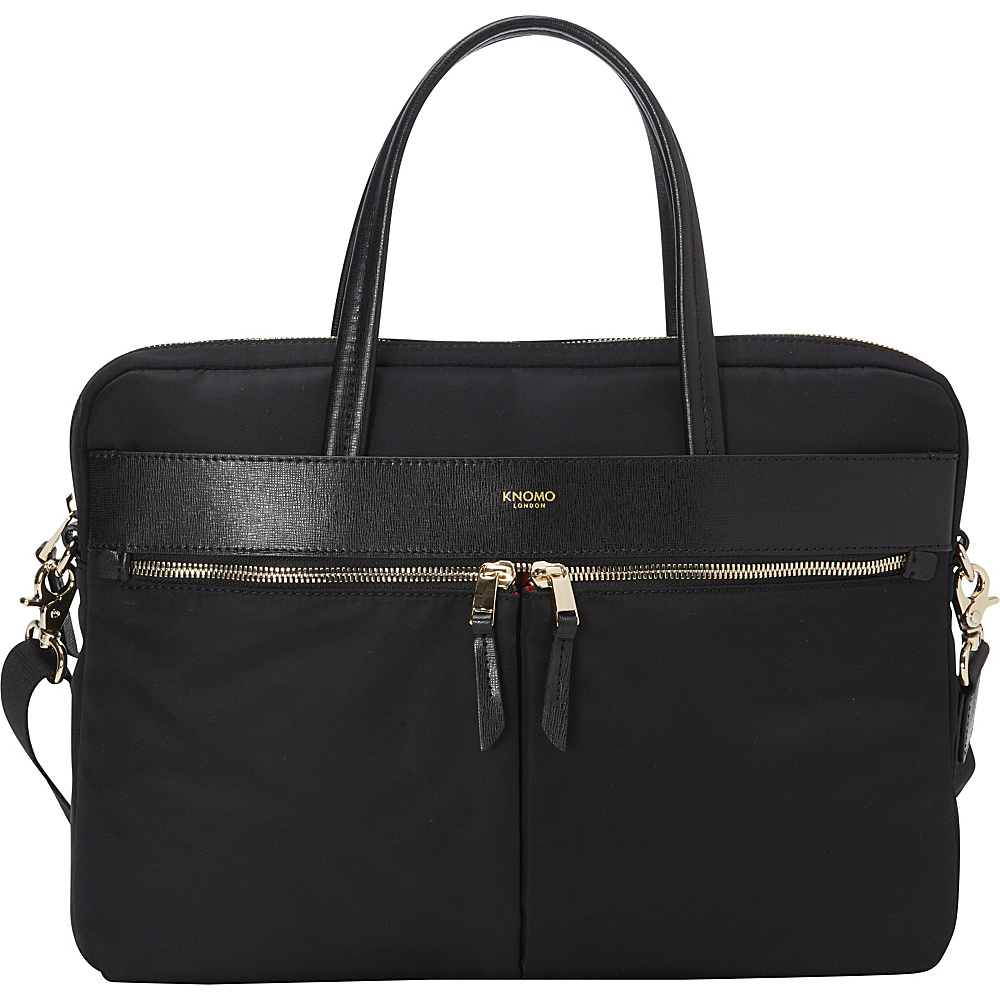 "KNOMO London Hanover 14"" Slim Briefcase Black - KNOMO London Non-Wheeled Computer Cases"