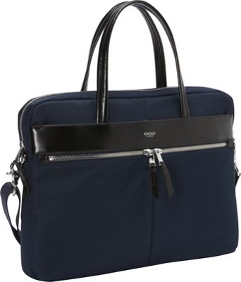 KNOMO London Hanover 14 inch Slim Briefcase Navy - KNOMO London Non-Wheeled Business Cases