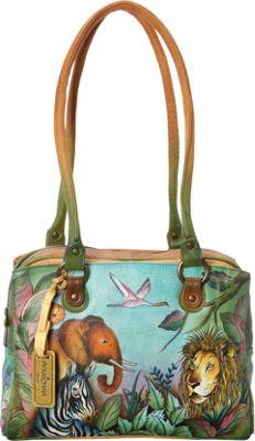 Anuschka Triple Compartment Medium Satchel African Adventure - Anuschka Leather Handbags