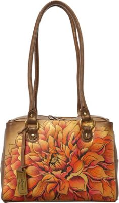 Anuschka Triple Compartment Medium Satchel Dreamy Dahlias Bronze - Anuschka Leather Handbags