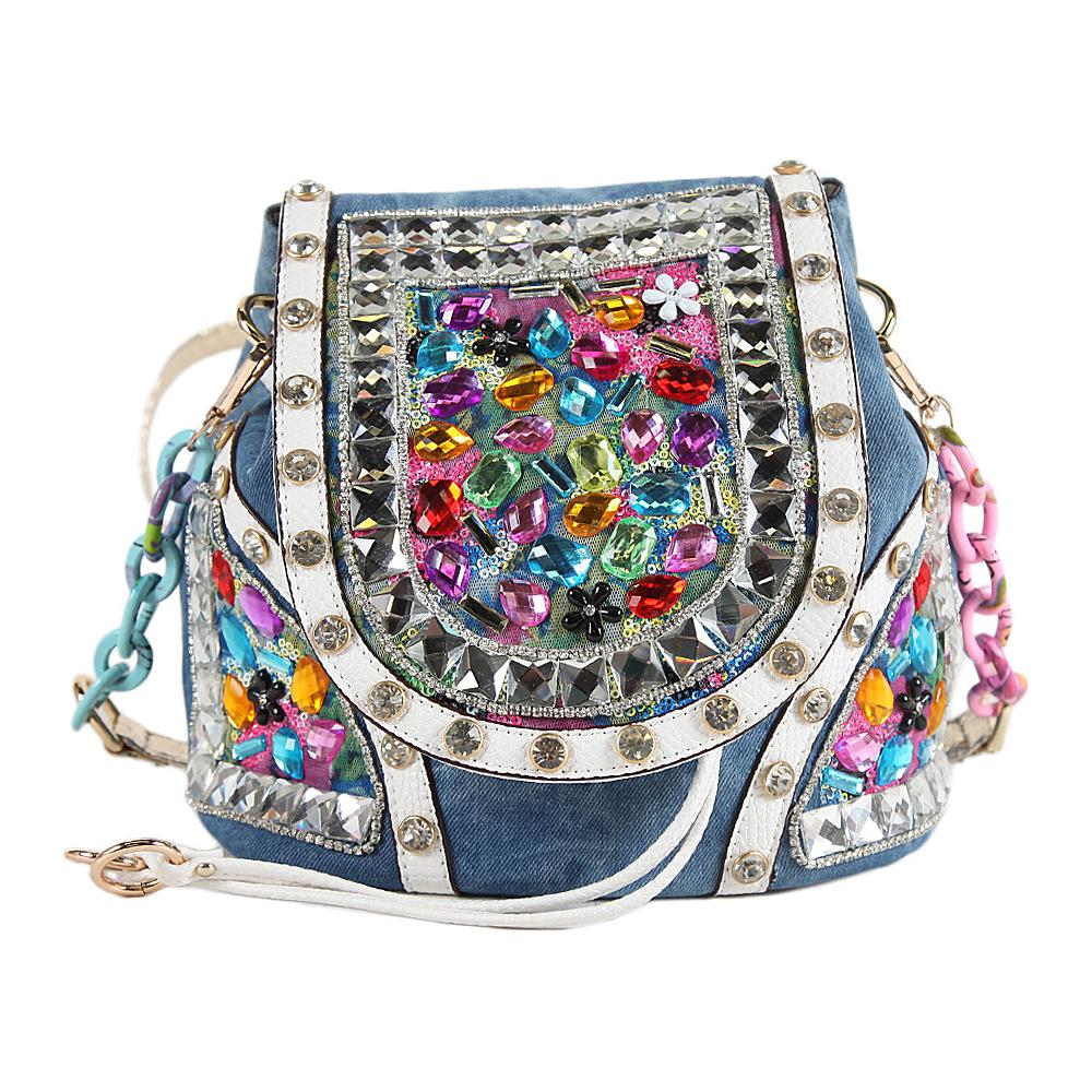 Nicole Lee Clover Denim Stones Backpack Purse Denim Stone - Nicole Lee Fabric Handbags