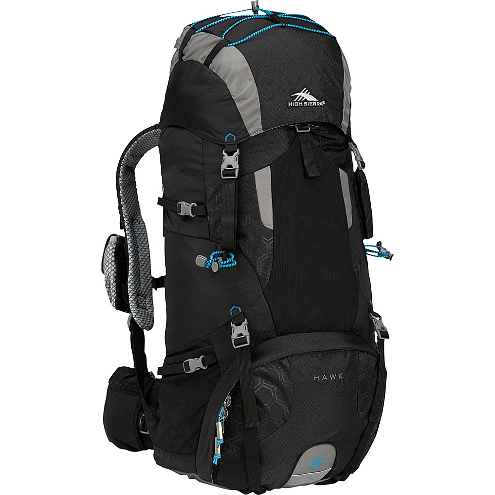 High Sierra Hawk 45 Frame Pack BLACK/CHARCOAL/POOL - High Sierra Day Hiking Backpacks