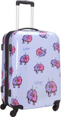 Ed Heck Luggage Multi Love Birds Hardside Spinner Luggage 25 inch Spinner Light Purple - Ed Heck Luggage Hardside Checked