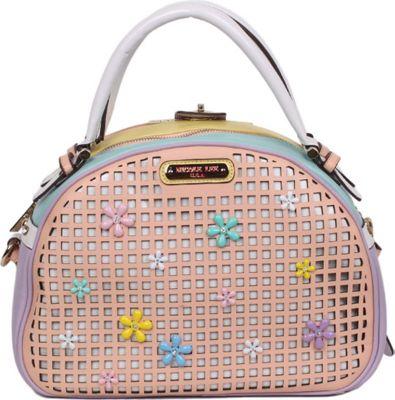 Nicole Lee Selina Floral Pastel Bowler Bag Peach - Nicole Lee Manmade Handbags