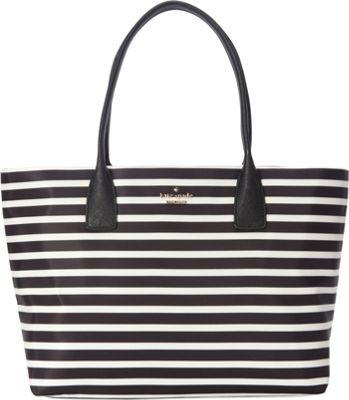 kate spade new york Classic Nylon Catie Shoulder Bag Black/Clotted Cream - kate spade new york Designer Handbags