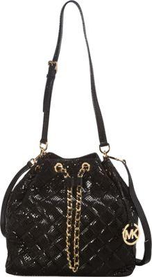 MICHAEL Michael Kors Frankie Quilted Large Drawstring Convertible Shoulder Bag Black - MICHAEL Michael Kors Designer Handbags