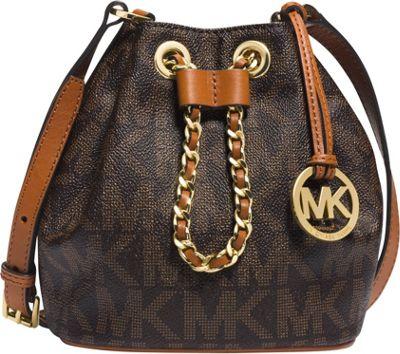 MICHAEL Michael Kors Frankie Drawstring Monogrammed Crossbody Brown - MICHAEL Michael Kors Designer Handbags