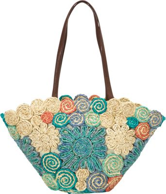 Cappelli Large Flower Multi Cornhusk Multi - Cappelli Straw Handbags