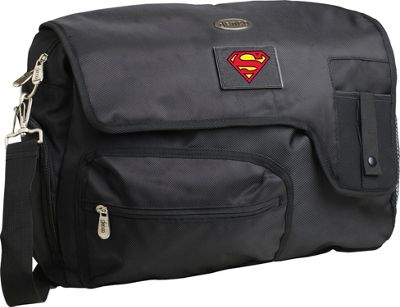 Superheroes by Denco DC Superman 15'' Black Laptop Travel Messenger Black - Superheroes by Denco Messenger Bags
