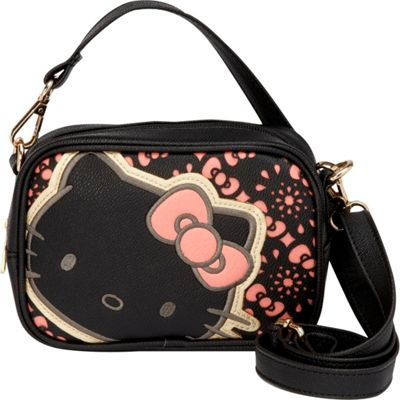 Loungefly Hello Kitty With Bows Black/Pink Laser Cut Crossbody Bag Black/Pink - Loungefly Manmade Handbags
