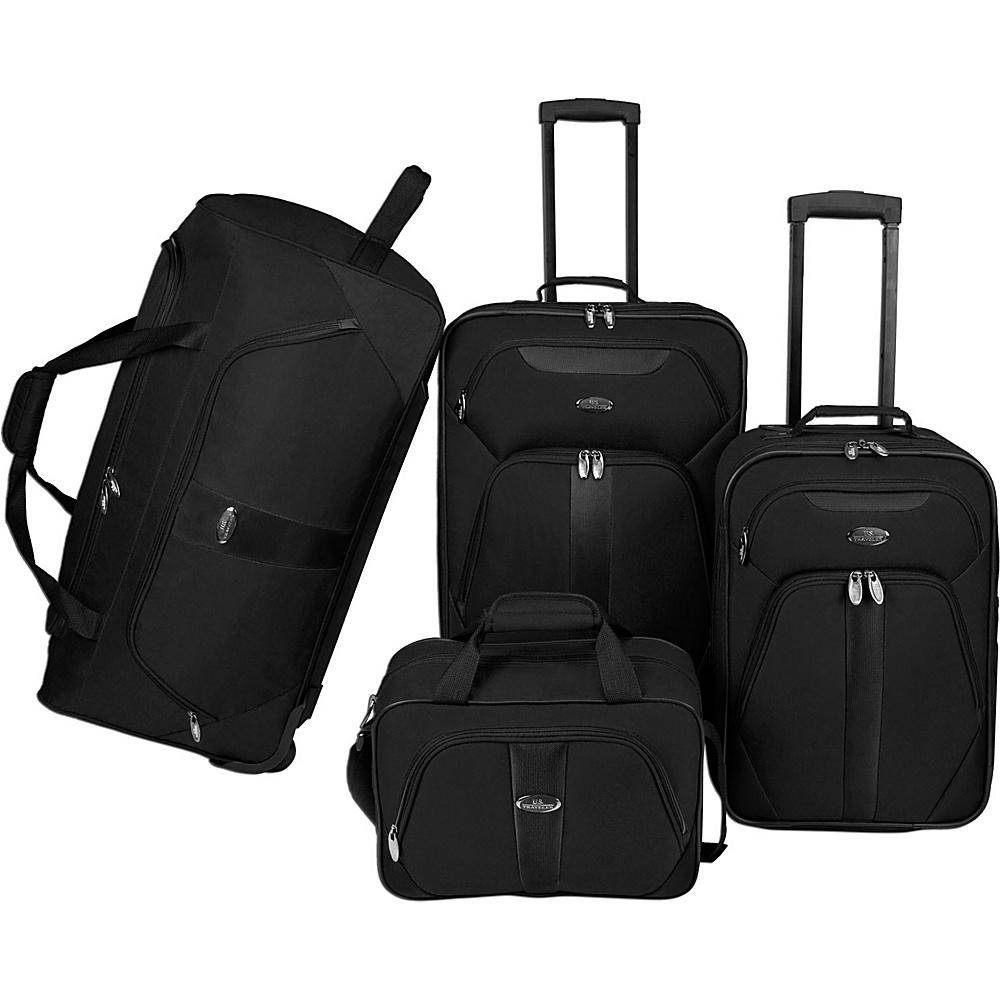 U.S. Traveler 4 Pc Luggage Set Black U.S. Traveler Luggage Sets