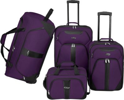 U.S. Traveler U.S. Traveler 4-Pc Luggage Set Purple - U.S. Traveler Luggage Sets