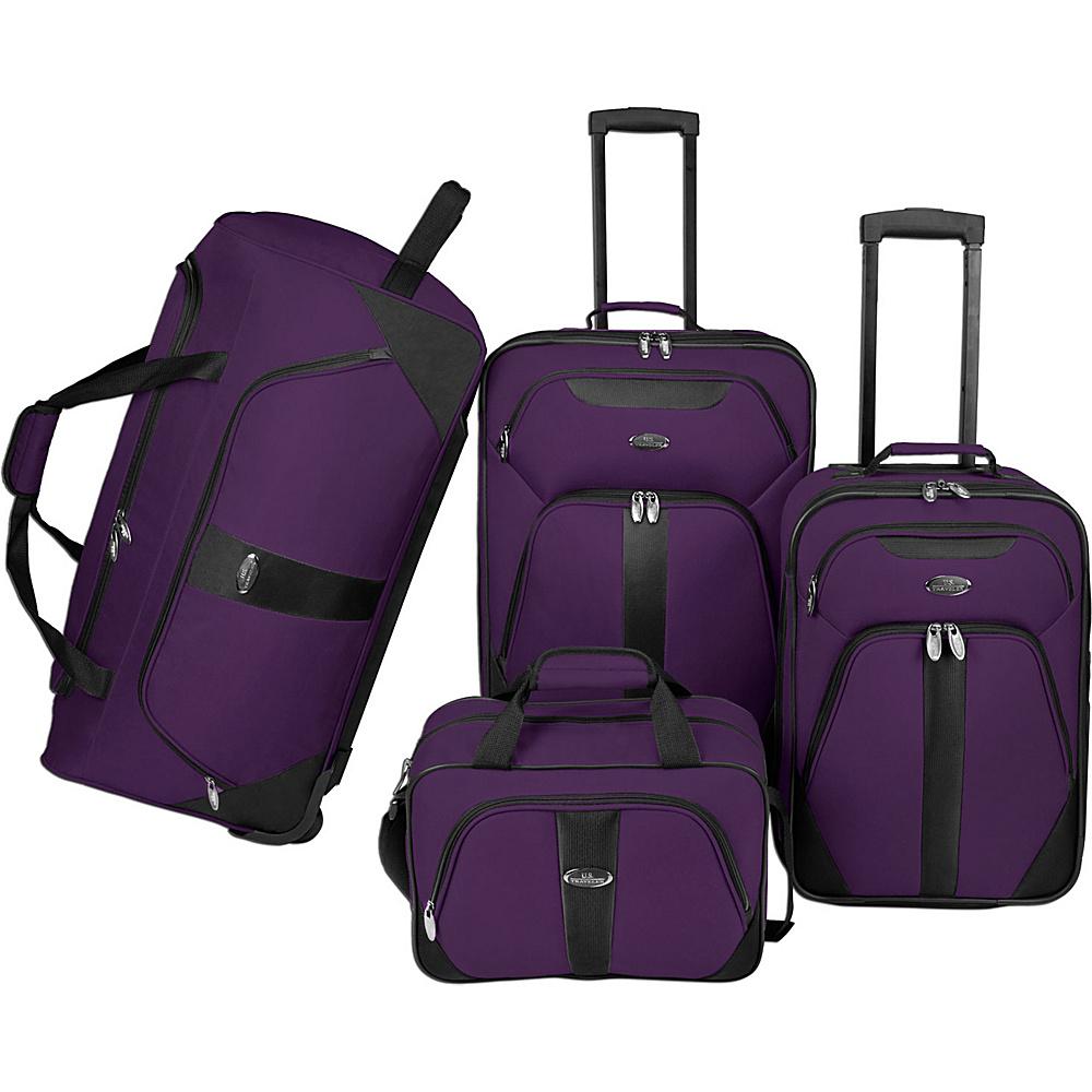 U.S. Traveler 4 Pc Luggage Set Purple U.S. Traveler Luggage Sets