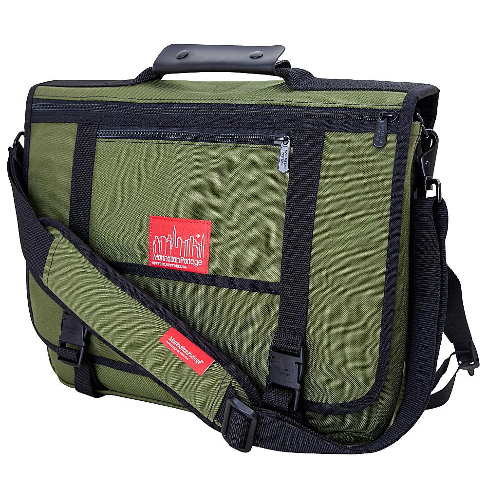 Manhattan Portage The Wallstreeter Messenger With Back Zipper Olive - Manhattan Portage Messenger Bags - Work Bags & Briefcases, Messenger Bags