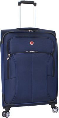 SwissGear Travel Gear SwissGear Travel Gear Deluxe 8 Wheeled 24 inch Spinner Blue - SwissGear Travel Gear Softside Checked