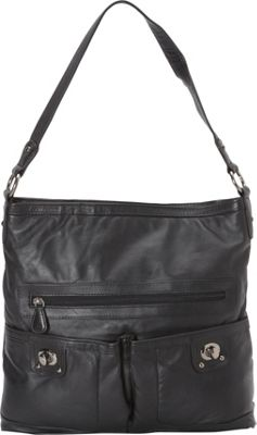 R & R Collections Front Pocket Turn Lock Shoulder Bag BLACK - R & R Collections Leather Handbags