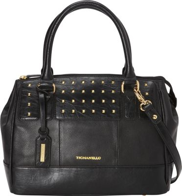 Tignanello Social Status Studded Satchel Black - Tignanello Leather Handbags