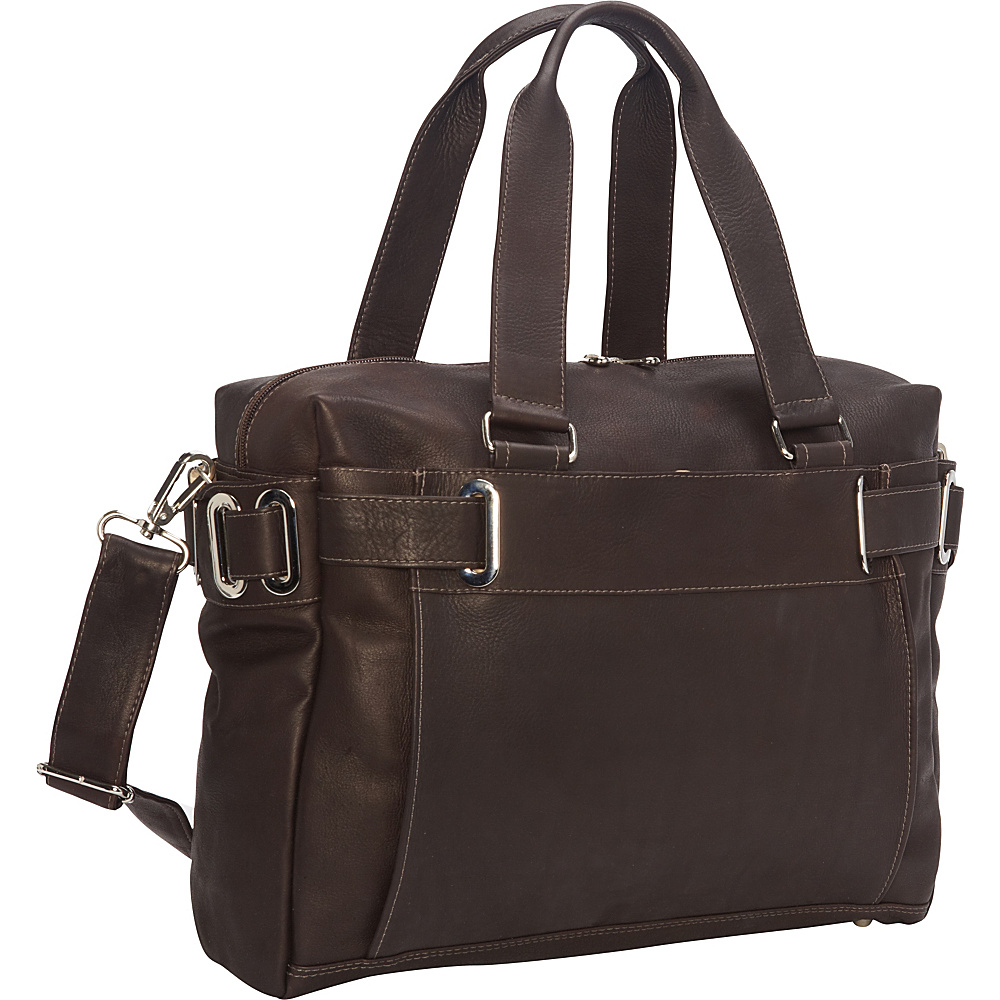 Piel Ladies Slim Carry-On Chocolate - Piel Manmade Handbags - Handbags, Manmade Handbags