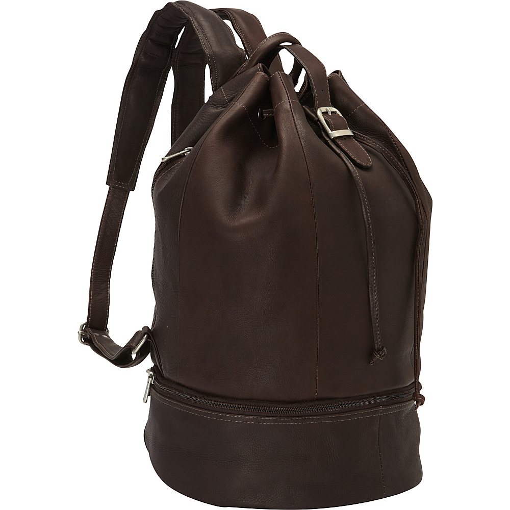 Piel Navy Drawstring Backpack Chocolate - Piel Everyday Backpacks