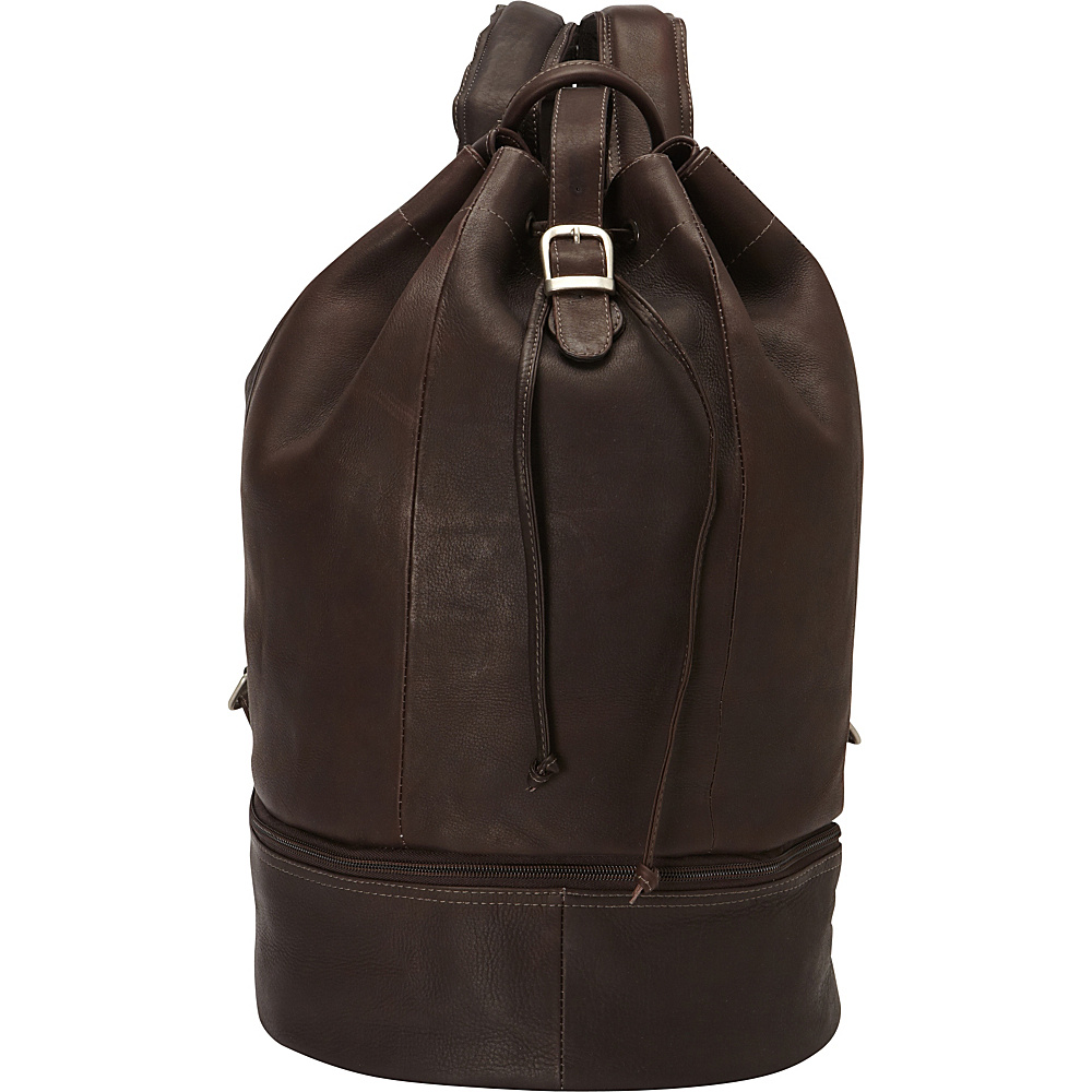 Piel Navy Drawstring Backpack Chocolate - Piel Everyday Backpacks