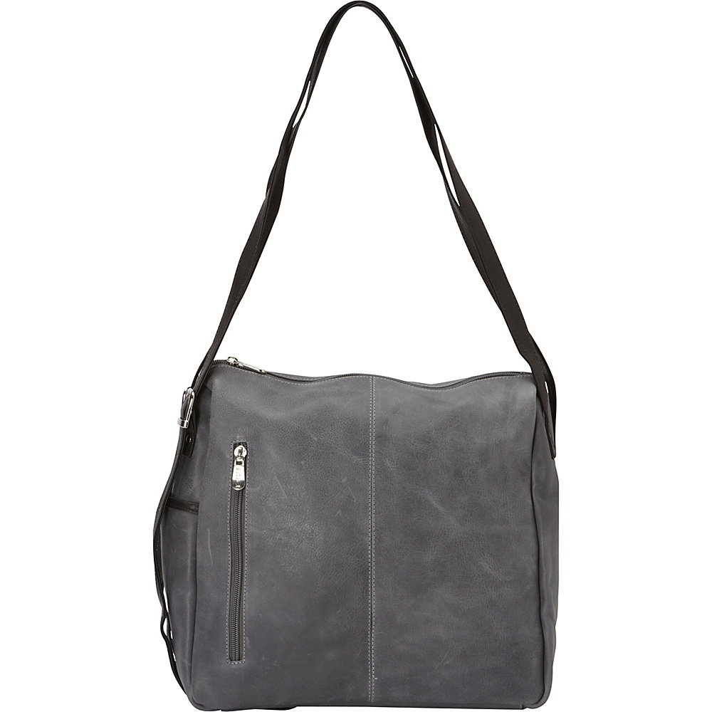Piel Top-Zip Shoulder Bag Charcoal - Piel Leather Handbags - Handbags, Leather Handbags