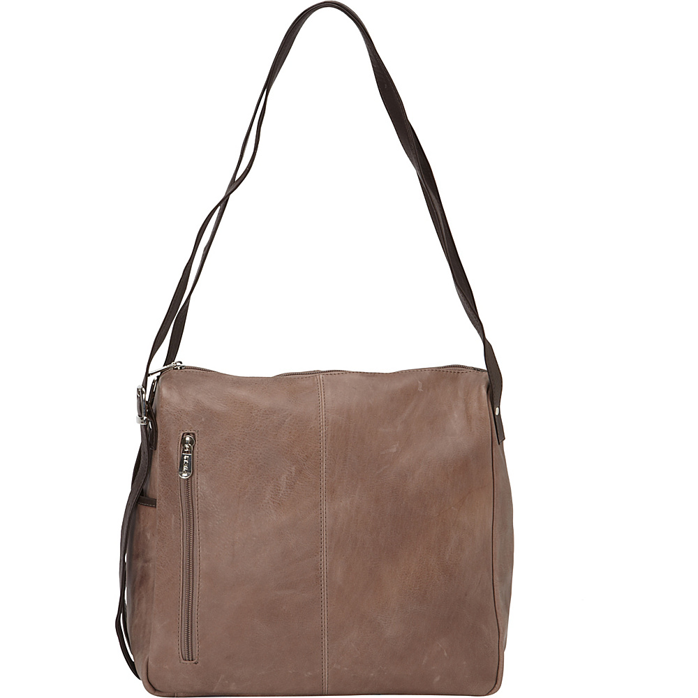 Piel Top-Zip Shoulder Bag Toffee- eBags Exclusive - Piel Leather Handbags - Handbags, Leather Handbags