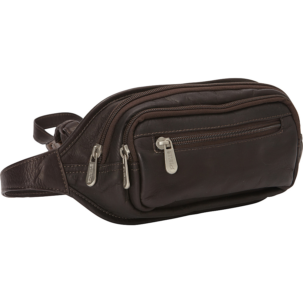 Piel Multi-Zip Oval Waist Bag Chocolate - Piel Waist Packs - Backpacks, Waist Packs