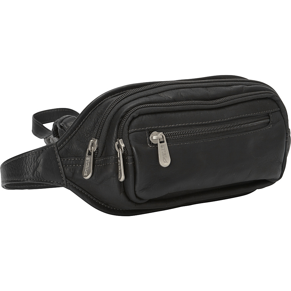 Piel Multi-Zip Oval Waist Bag Black - Piel Waist Packs - Backpacks, Waist Packs