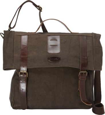 Sharo Leather Bags Leather and Canvas Messenger Bag Brown and Green Two Tone - Sharo Leather Bags Messenger Bags