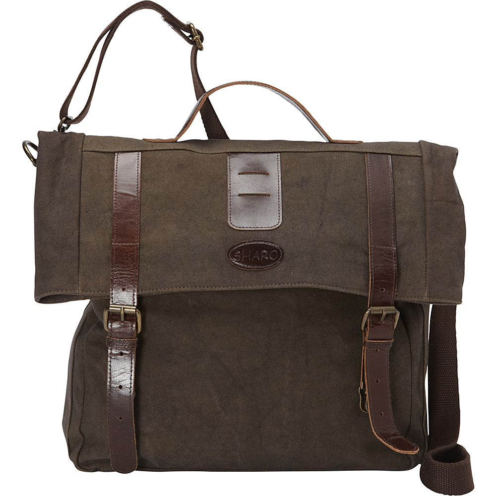 Sharo Leather Bags Leather and Canvas Messenger Bag Brown and Green Two Tone Sharo Leather Bags Messenger Bags