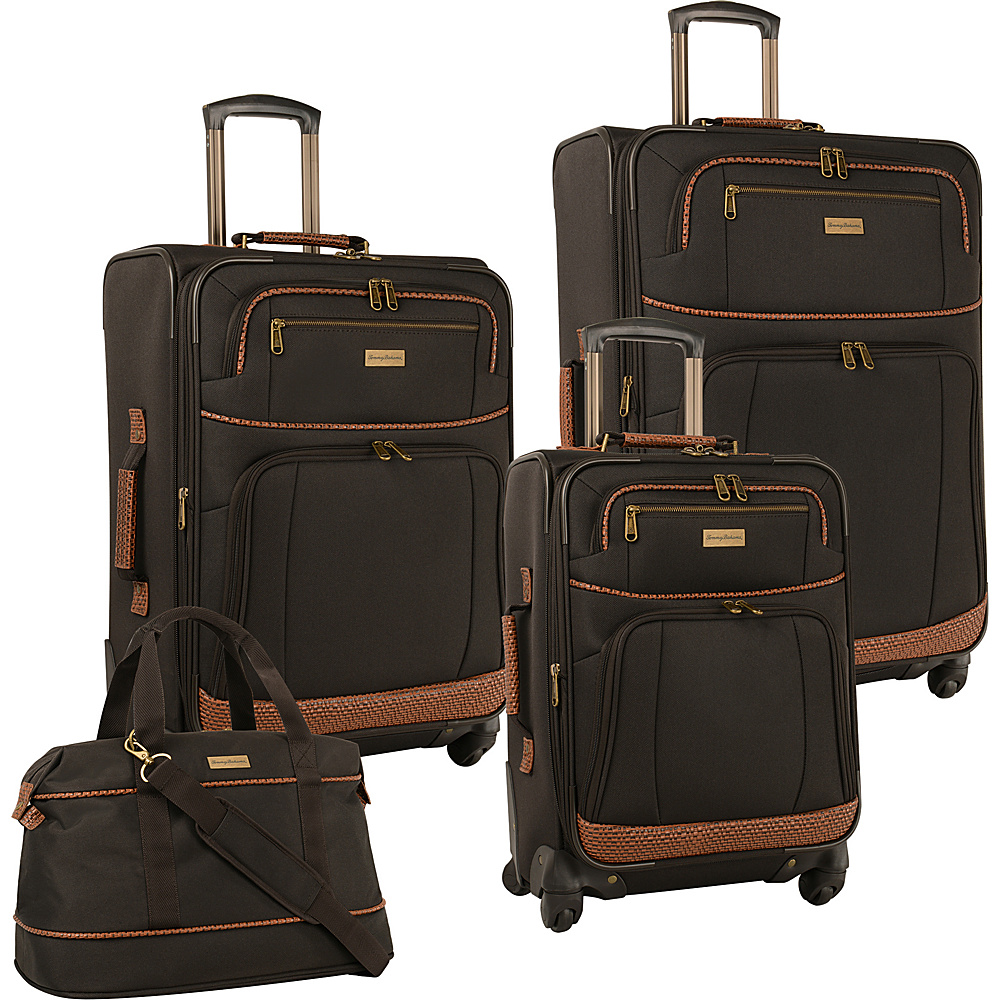 Tommy Bahama Mojito Four Piece Luggage Set Dark Brown Tommy Bahama Luggage Sets