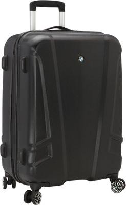 BMW Luggage 23.25 inch Split Case 8 Wheel Spinner Black - BMW Luggage Softside Checked