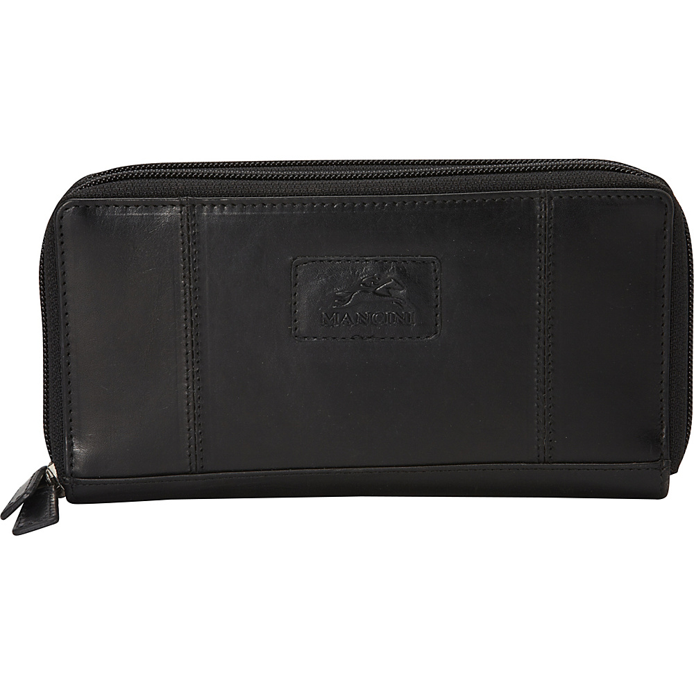 Mancini Leather Goods Ladies RFID Double Zipper Clutch Wallet Black Mancini Leather Goods Women s Wallets