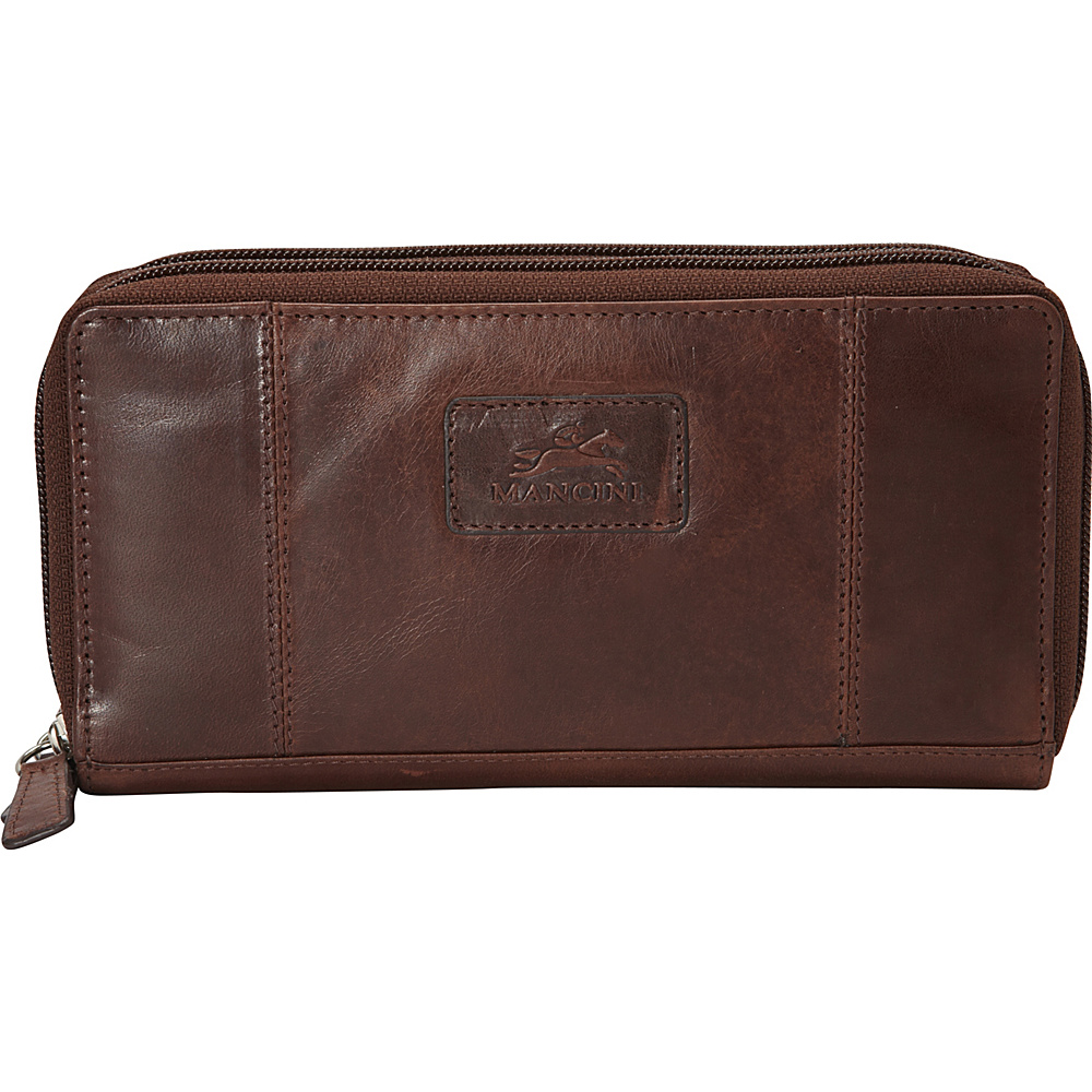 Mancini Leather Goods Ladies RFID Double Zipper Clutch Wallet Brown Mancini Leather Goods Women s Wallets