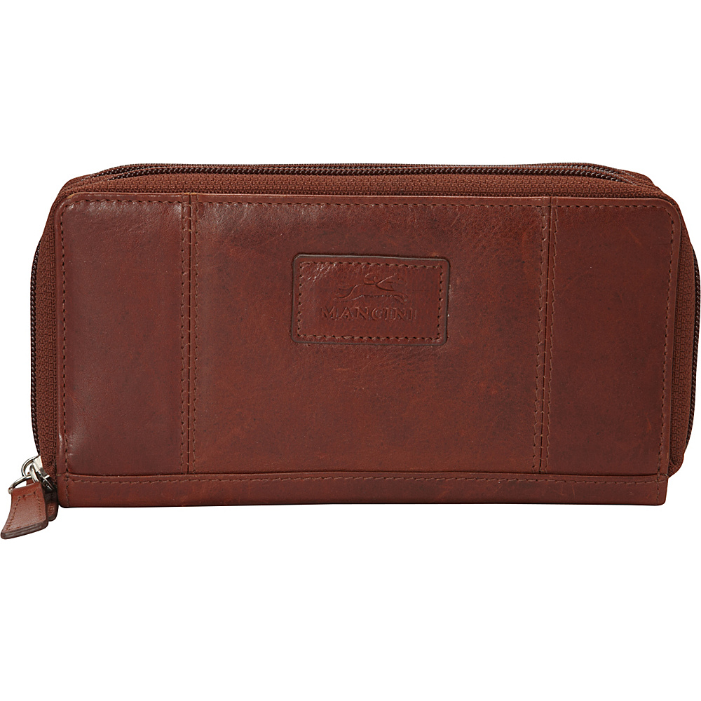Mancini Leather Goods Ladies RFID Double Zipper Clutch Wallet Cognac Mancini Leather Goods Women s Wallets