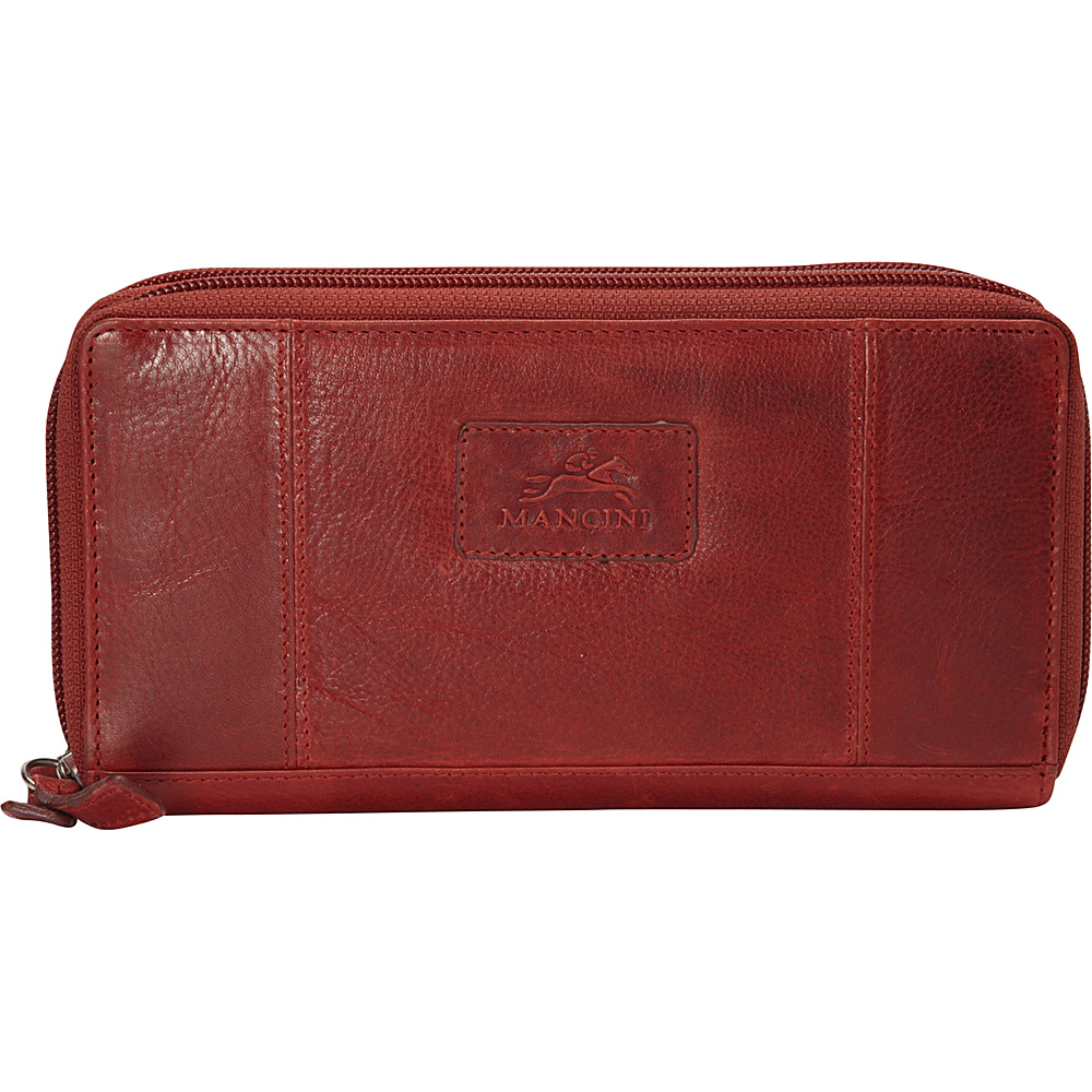 Mancini Leather Goods Ladies RFID Double Zipper Clutch Wallet Red Mancini Leather Goods Women s Wallets