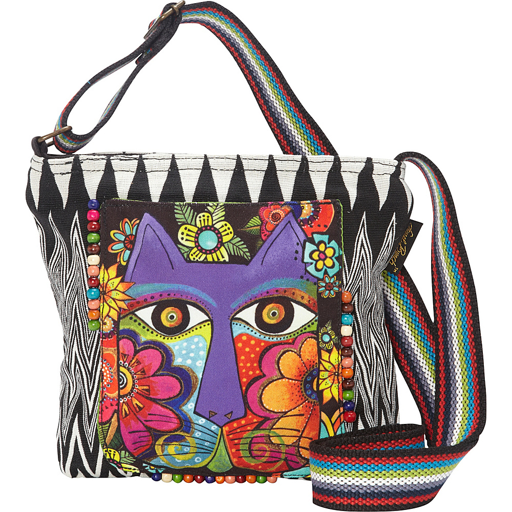 Laurel Burch Blossoming Feline Crossbody Multi Laurel Burch Fabric Handbags