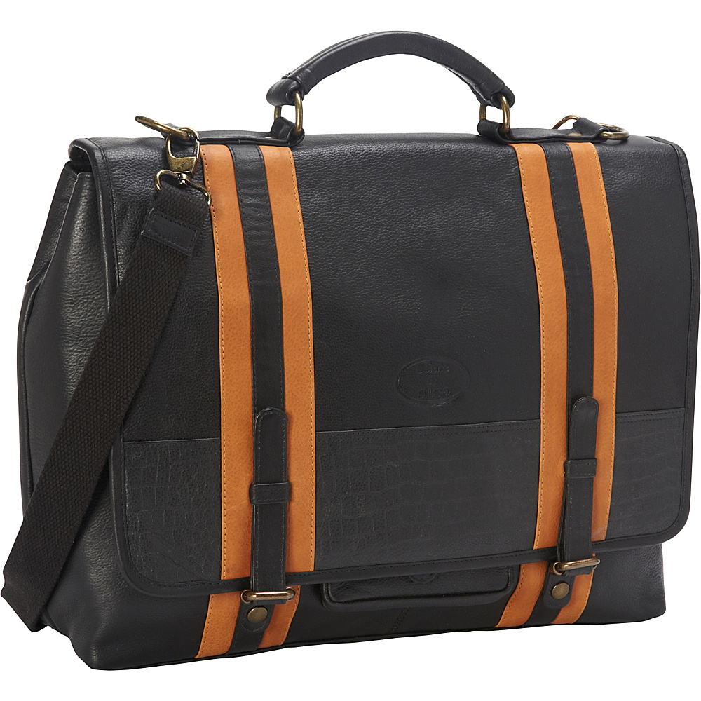 Sharo Leather Bags Women's Executive Black With Stripes Leather Laptop Messenger Bag And Brief Black Sharo Leather Bags Non Wheeled Business Cases