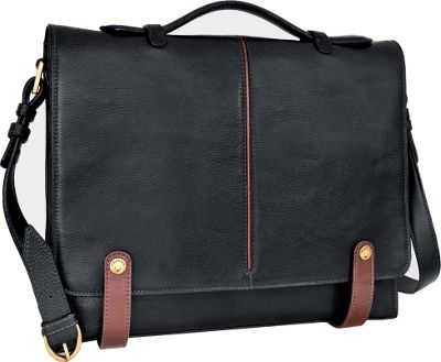 Hidesign Eton Leather 15 inch Laptop Compatible Briefcase Work Bag Black - Hidesign Non-Wheeled Business Cases