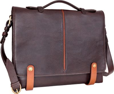 Hidesign Eton Leather 15 inch Laptop Compatible Briefcase Work Bag Brown - Hidesign Non-Wheeled Business Cases
