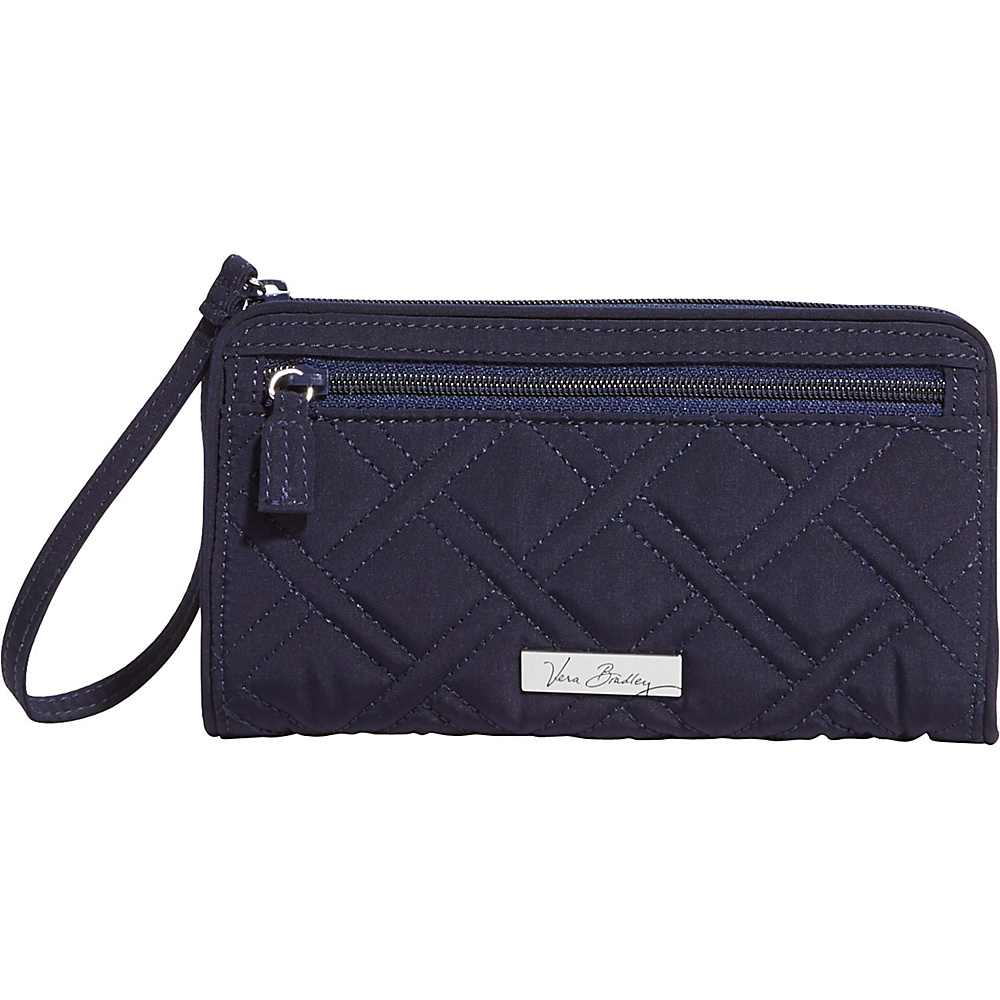 Vera Bradley Front Zip Wristlet Solids Classic Navy Vera Bradley Fabric Handbags